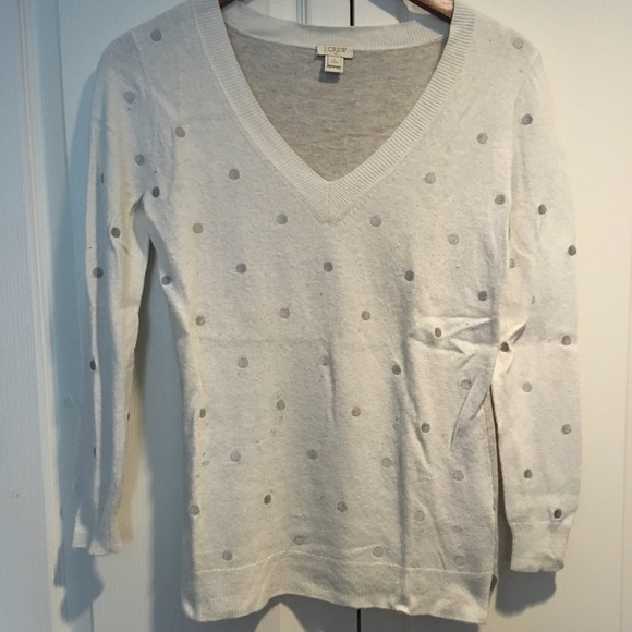 J crew women's cream greyish sweater size S petite